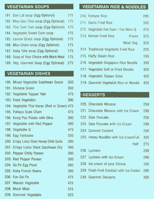 Menu of China Garden, Kemps Corner, South Mumbai, Mumbai