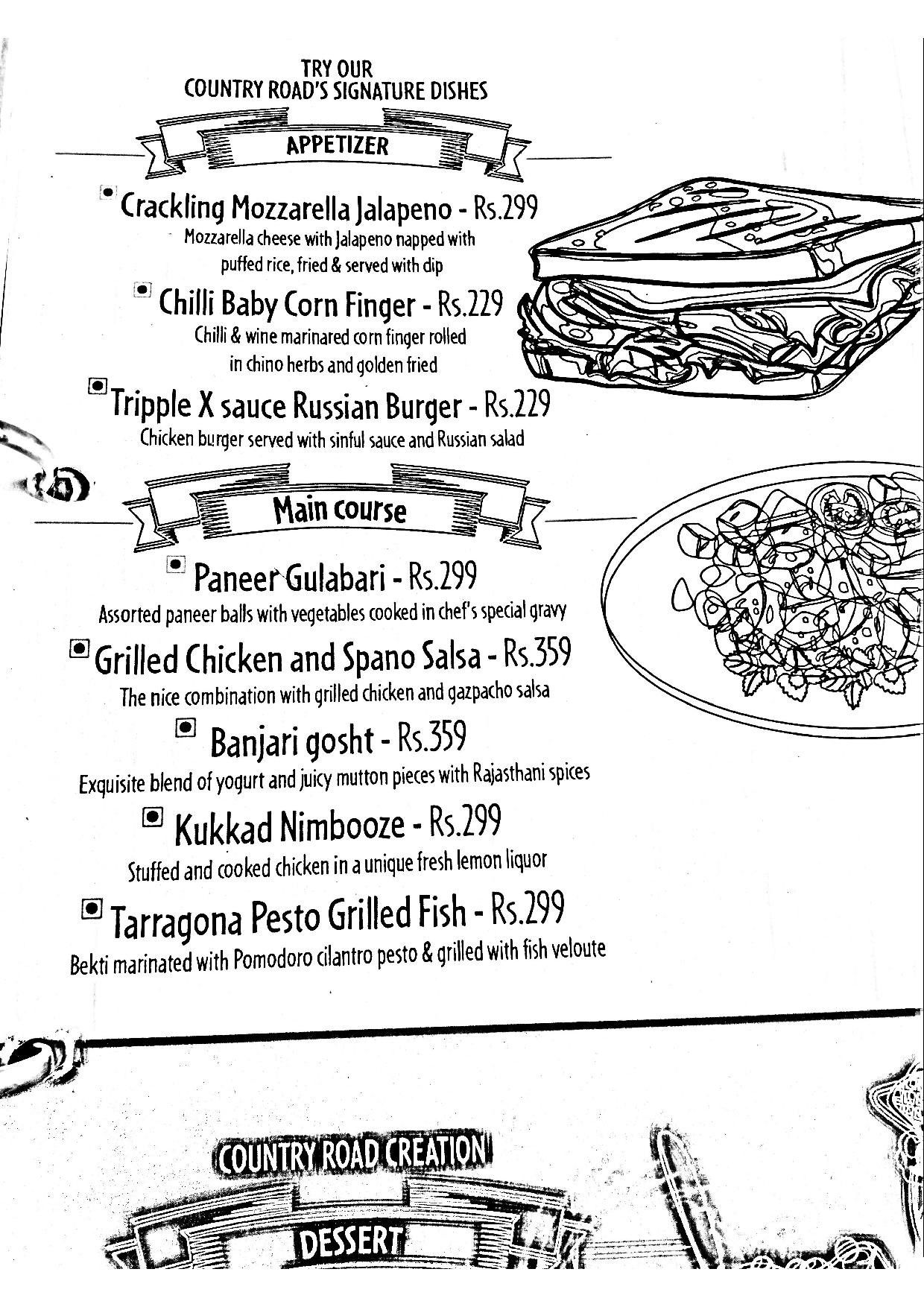 Menu of The Country Road, Rajarhat New Town, Kolkata, Kolkata