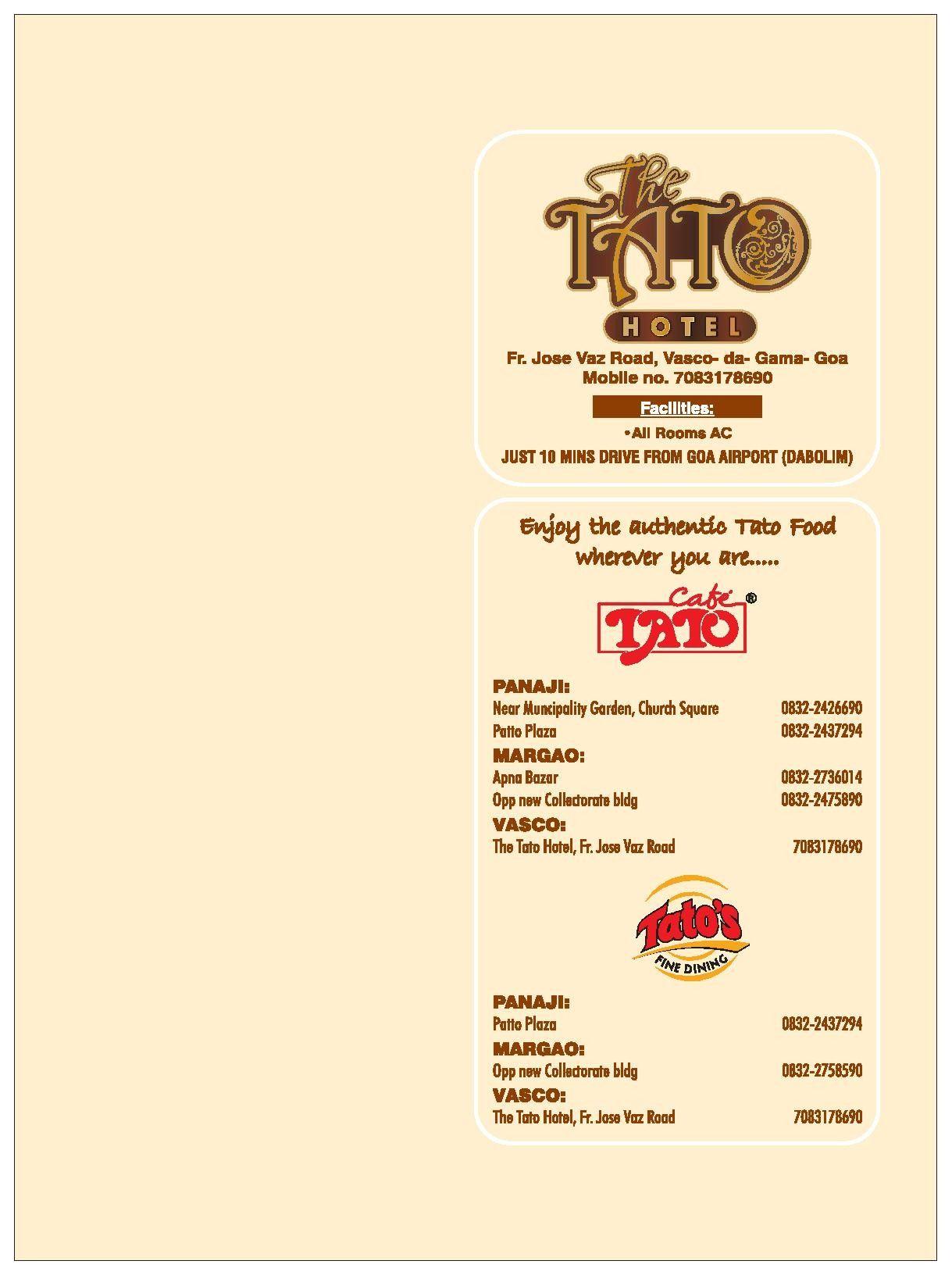 Menu of Tato's Fine Dining, Margao, South Goa, Goa | EazyDiner