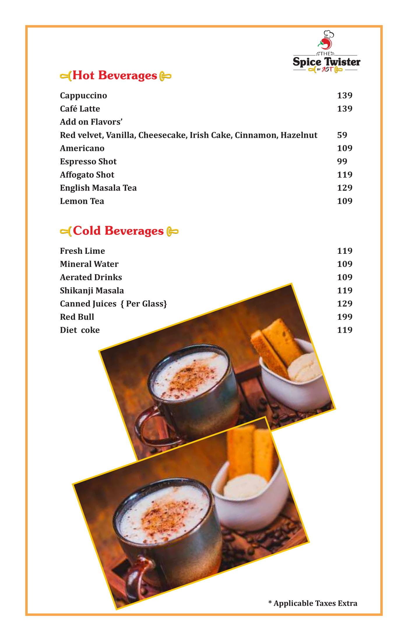 Menu of The Spice Twister, Punjabi Bagh, West Delhi, Delhi NCR