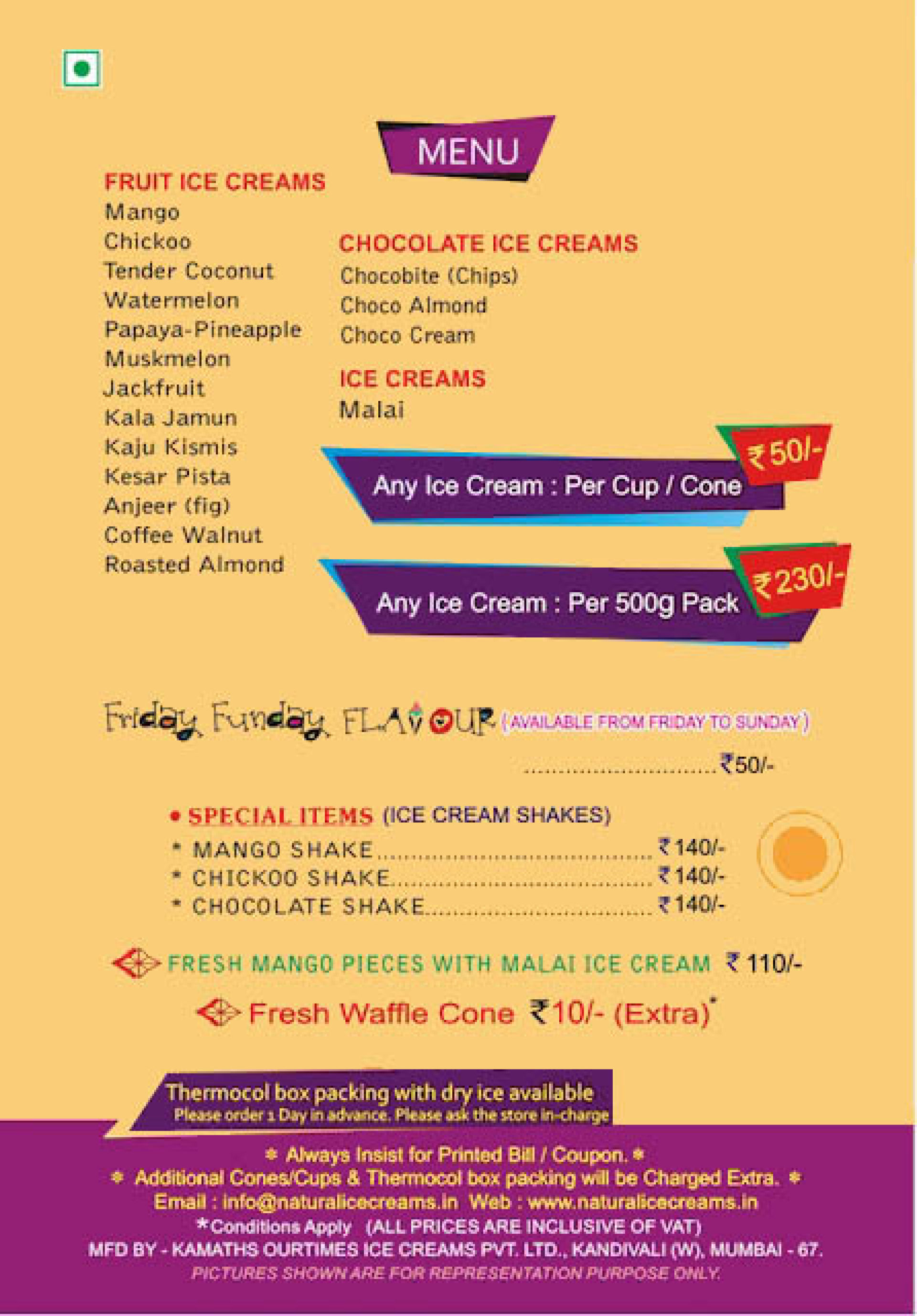 Menu Of Natural Ice Cream Dadar Shivaji Park South Mumbai