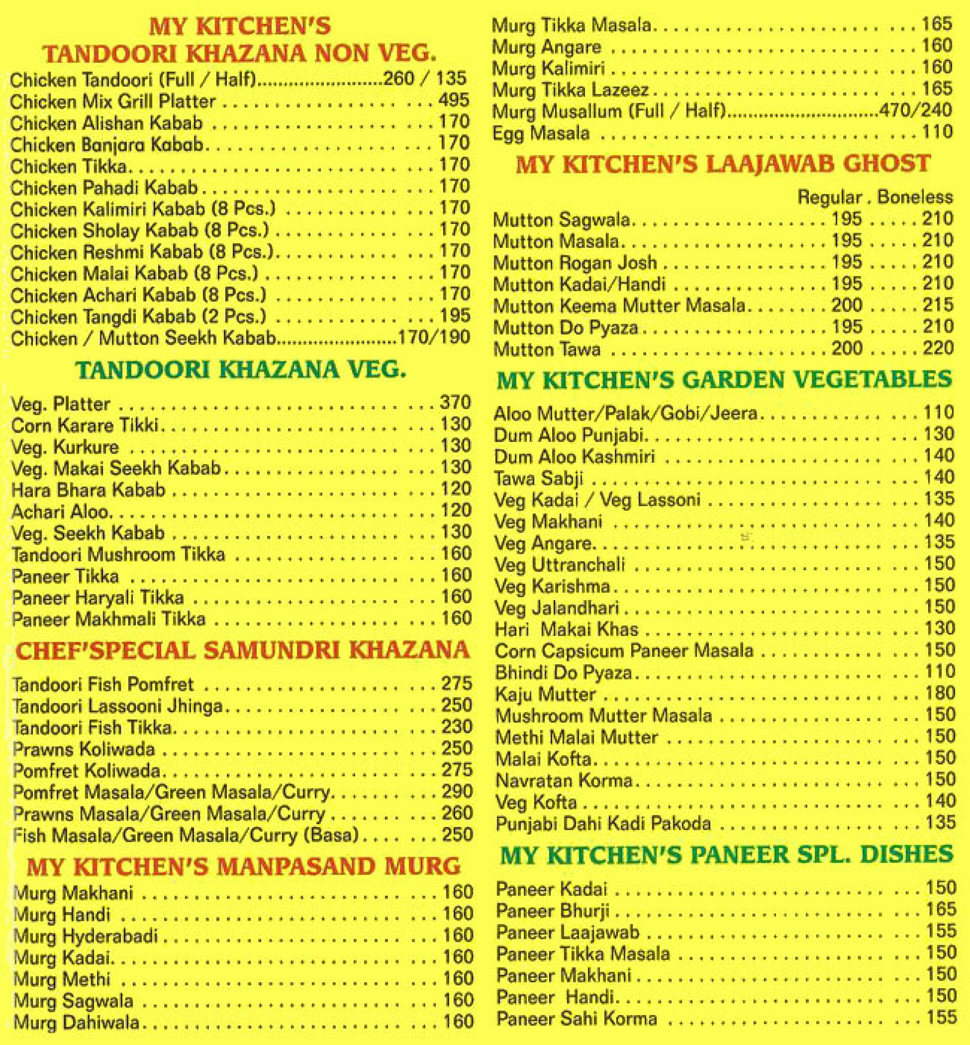 Menu Of My Kitchen Goregaon East Western Suburbs Mumbai