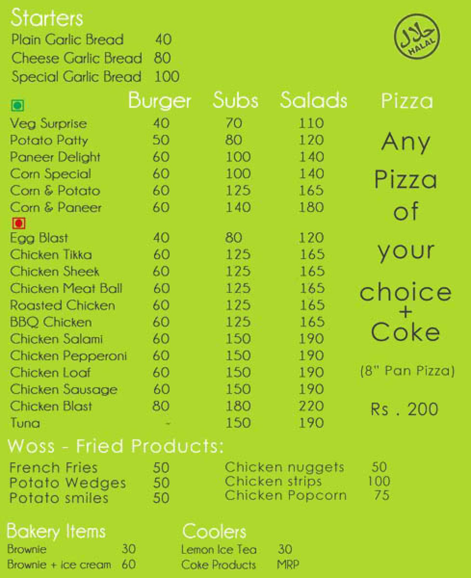Menu of WOSS - World of Sub's & Salad's, Adyar, Chennai, Chennai