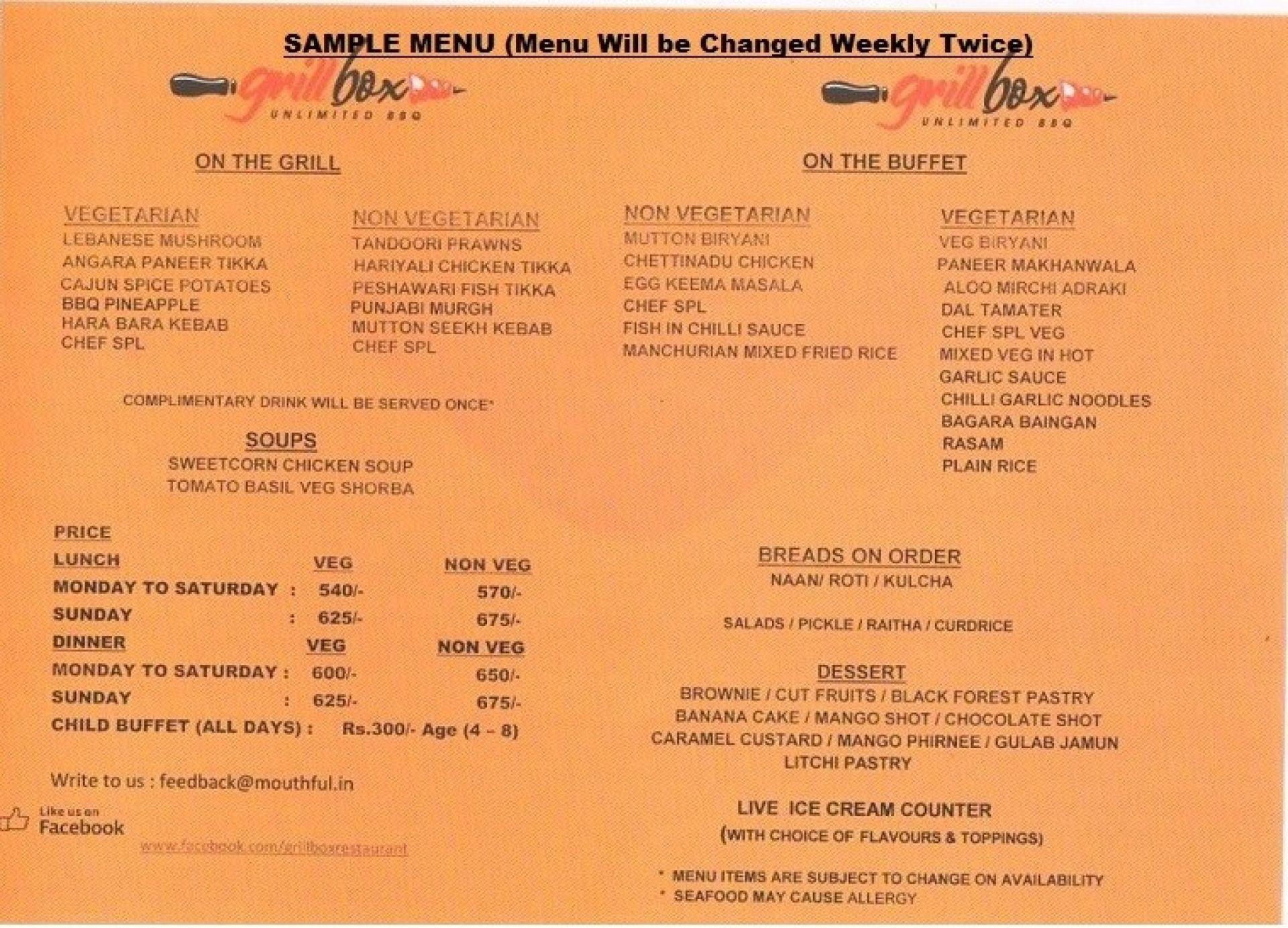 Grill box chennai menu