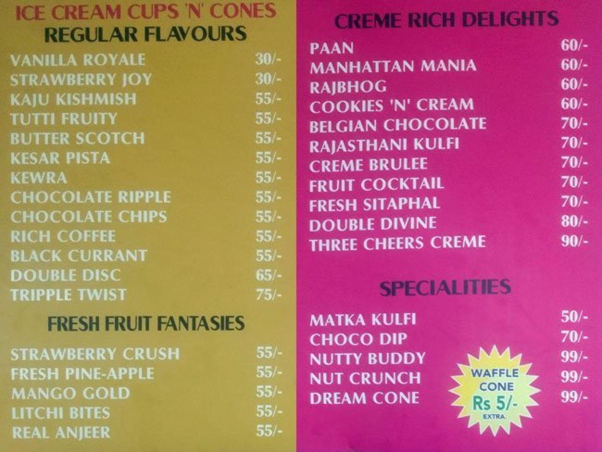 Menu Of Jaina Ice Cream Parlour Mi Road Jaipur Jaipur Eazydiner