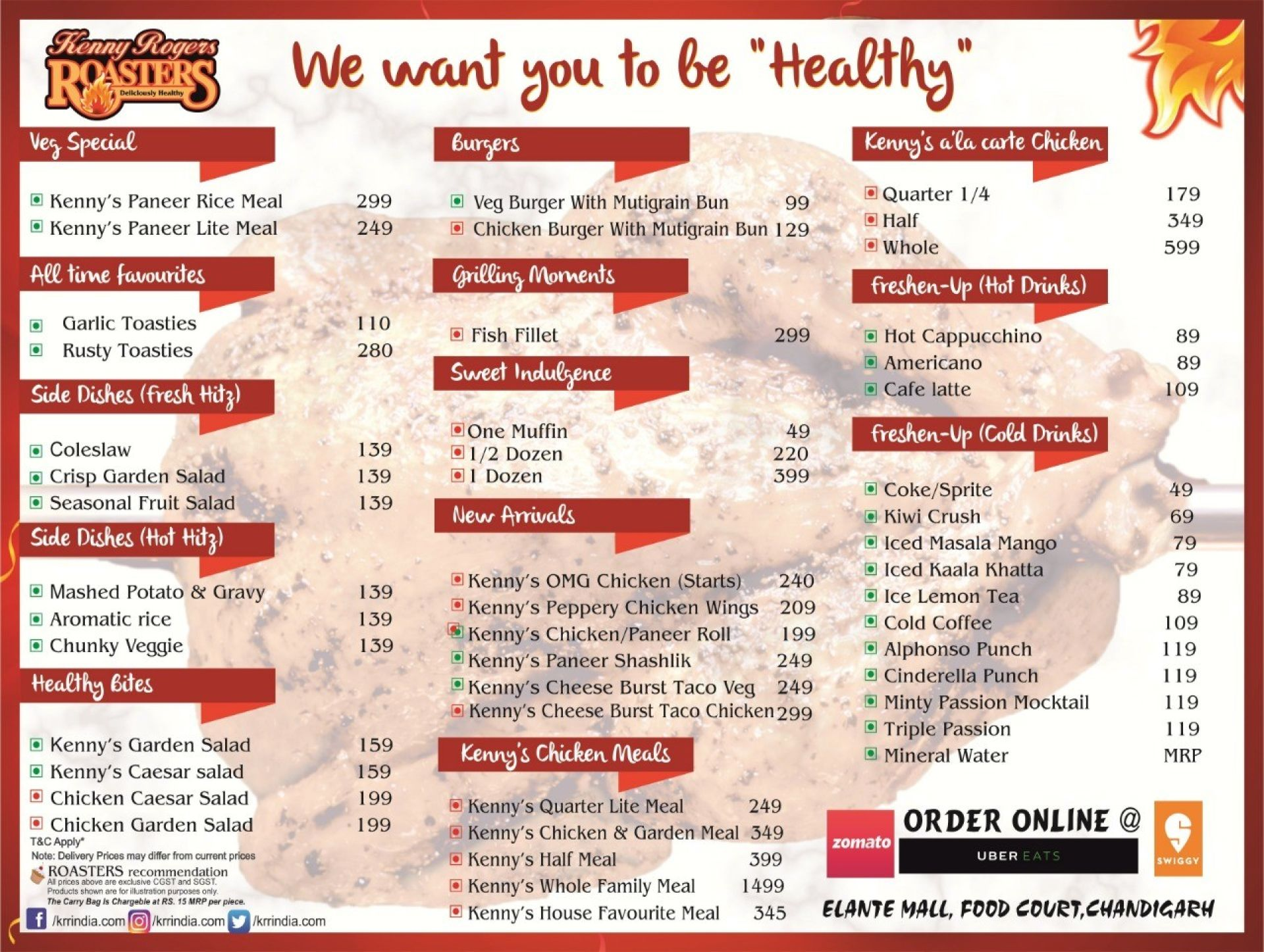 Menu of Kenny Rogers Roasters, Elante Mall, Chandigarh ...