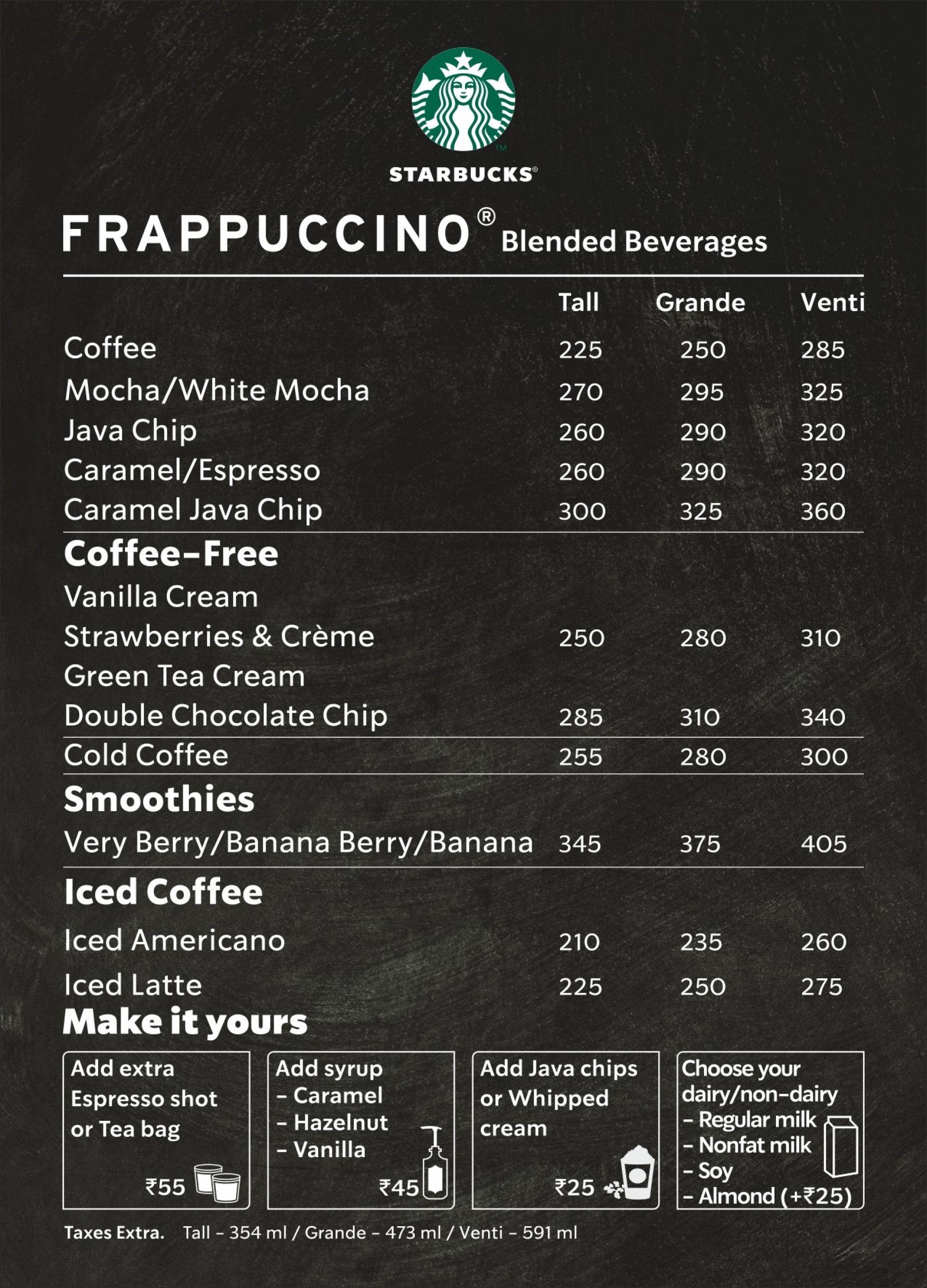 Menu Of Starbucks Sector 22 Chandigarh Chandigarh Eazydiner