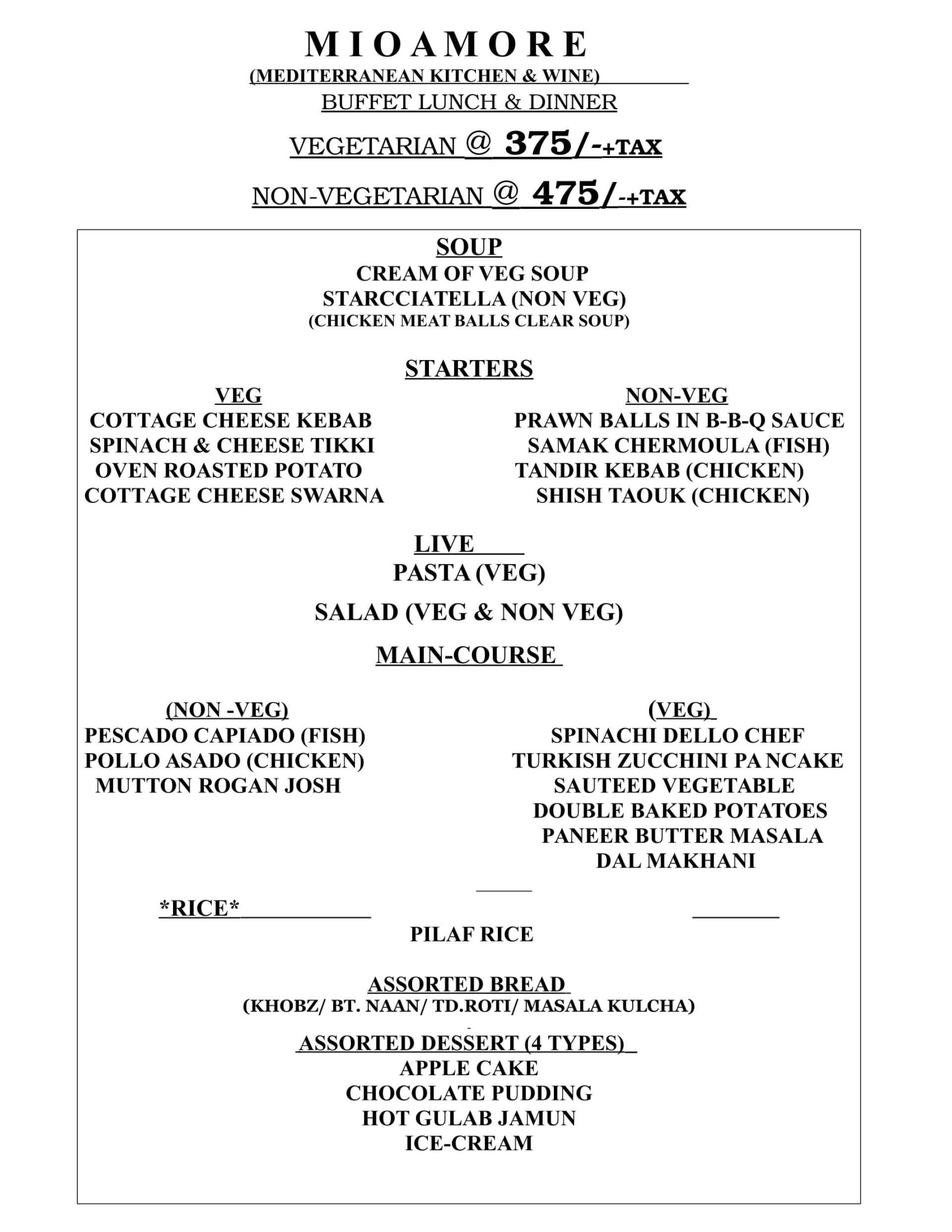 mio amore menu mani square mall kankurgachi kolkata prices
